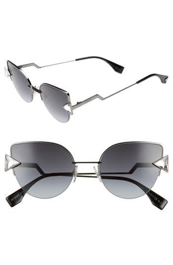 Women's Fendi Rainbow 52Mm Semi-Rimless Sunglasses - Dark Ruthenium