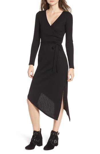 One Clothing Ribbed Knit Asymmetrical Wrap Midi Dress, Black