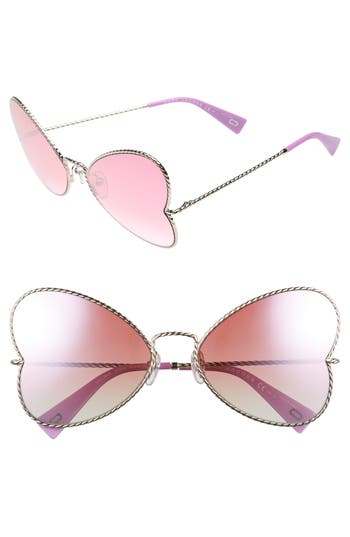 Women's Marc Jacobs 60Mm Heart Sunglasses - Gold