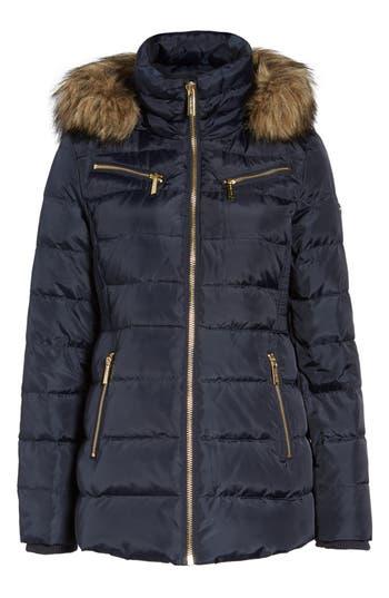 Michael Michael Kors Puffer Coat With Detachable Hood And Faux Fur Trim, Blue