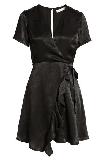 Women's Satin Faux Wrap Dress, Size X-Small - Black