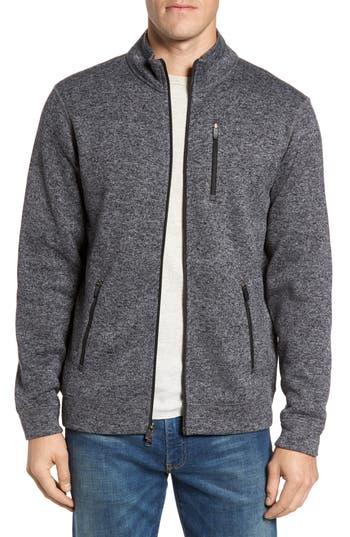 Tailor Vintage Sweater Knit Fleece Zip Front Jacket, Grey