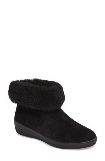 Fitflop Skate Genuine Shearling Cuff Boot, Black
