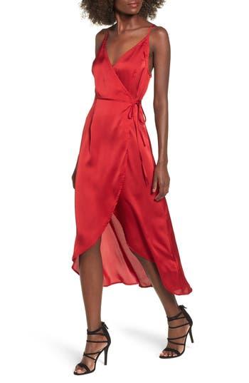 Women's Somedays Lovin Evening Sun Satin Wrap Dress, Size X-Small - Red