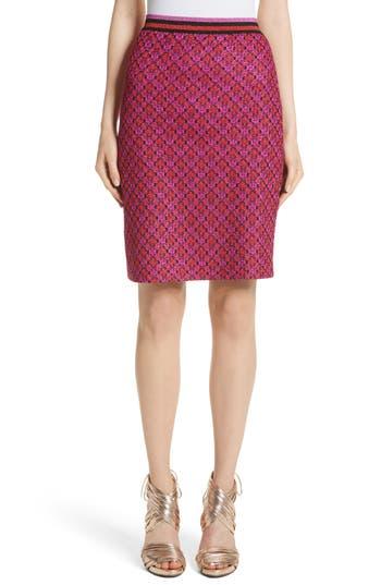 Women's Missoni Metallic Crisscross Knit Pencil Skirt, Size 2 US / 38 IT - Pink