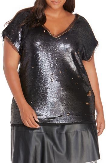 60s Plus Size Retro Dresses, Clothing, Costumes | 70s Dresses Plus Size Womens Rebel Wilson X Angels Sequin  Mesh Top Size 0X - Black $149.00 AT vintagedancer.com