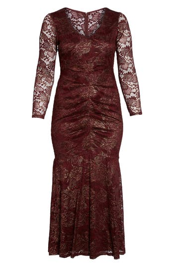 1930s Art Deco Plus Size Dresses | Tea Dresses, Party Dresses Plus Size Womens Marina Foil Lace Ruched Mermaid Gown $209.00 AT vintagedancer.com