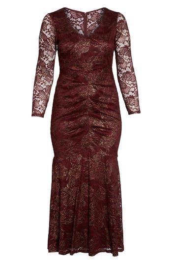 1930s Style Dresses | 30s Art Deco Dress Plus Size Womens Marina Foil Lace Ruched Mermaid Gown $209.00 AT vintagedancer.com