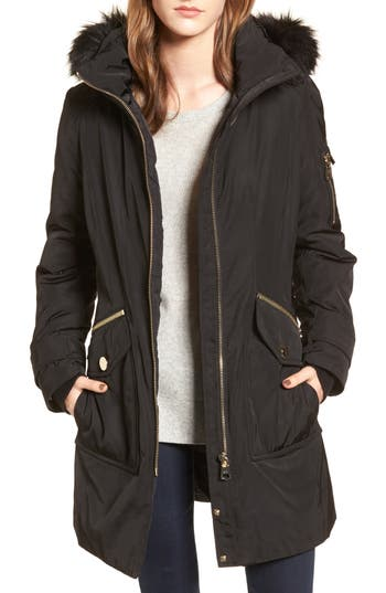 Women's Calvien Klein Hooded Down Parka With Removable Faux Fur Collar, Size X-Small - Black