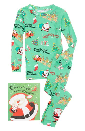 Boy's Books To Bed Twas The Night Before Christmas Fitted Two-Piece Pajamas & Book Set