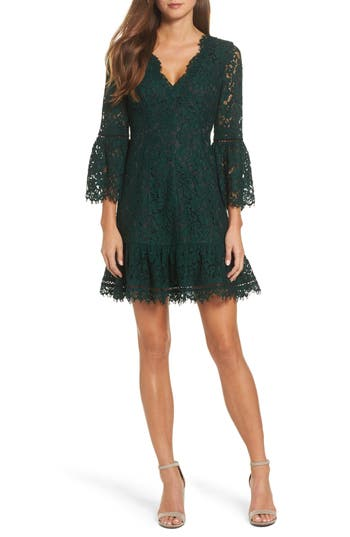 Eliza J Bell Sleeve Lace Dress, Green