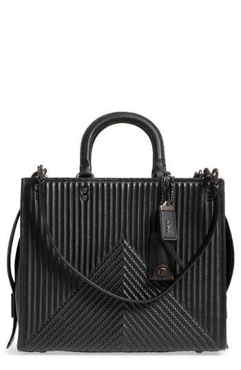 Coach 1941 Rogue Rivets Quilted Leather Satchel - Black