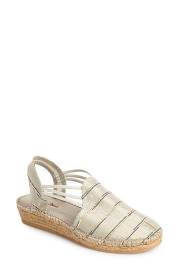 Women's Toni Pons 'Nantes' Silk Stripe Sandal, Size 36 EU - White