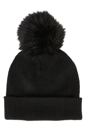 Women's Sole Society Faux Fur Pompom Beanie - Black