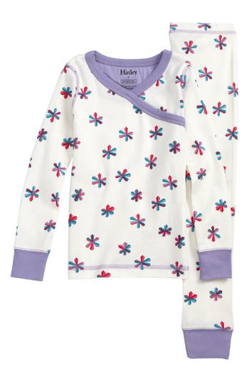 Girl's Hatley Snowflake Print Fitted Two-Piece Pajama Set