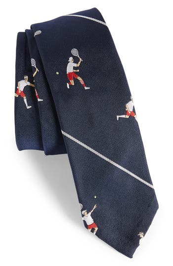 1950s Men's Ties – Vintage, Skinny, Knit, Pattern Neckties Mens Thom Browne Tennis Player Silk Skinny Tie $240.00 AT vintagedancer.com