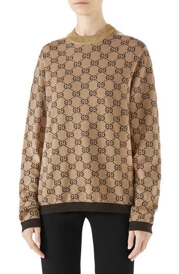 Gucci Intarsia Logo Wool Sweater, Beige