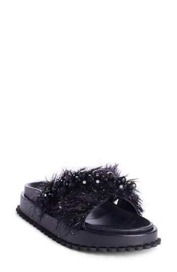 Women's Simone Rocha Embellished Slide Sandal, Size 6US / 36EU - Black