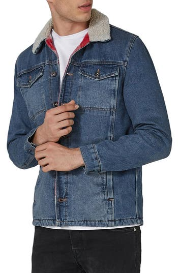 Men's Vintage Style Coats and Jackets Mens Topman Borg Lined Denim Jacket $120.00 AT vintagedancer.com