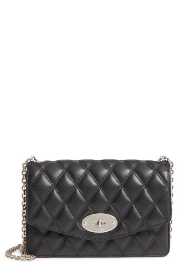 MULBERRY Small Darley Lock Quilted Calfskin Leather Clutch - Black in Black/ Silver
