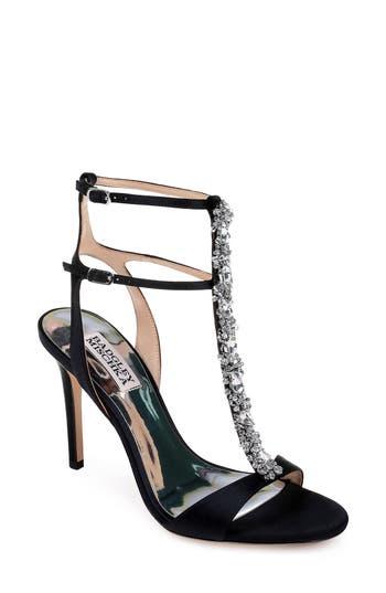 Badgley Mischka Hollow T-Strap Embellished Sandal, Black