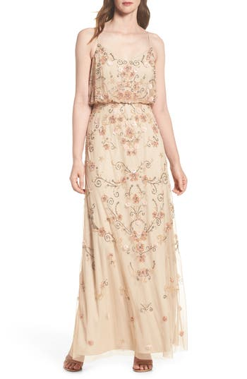 1920s Style Dresses, Flapper Dresses Petite Womens Adrianna Papell Beaded Floral Blouson Gown Size 16P - Beige $349.00 AT vintagedancer.com