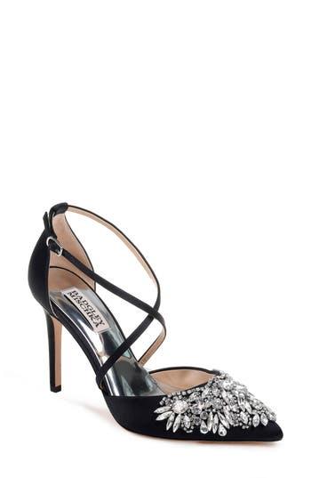 Badgley Mischka Harlene Embellished Pointy Toe Pump- Black