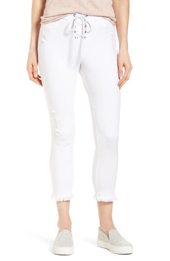Hue Shipwrecked Lace-Up Denim Skimmer Leggings, White