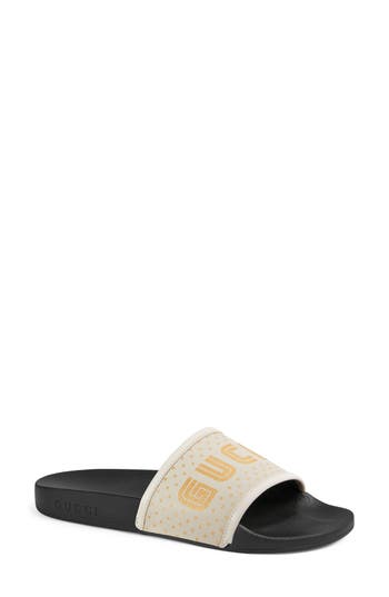 Women's Gucci Pursuit Guccy Logo Slide Sandal, Size 5US / 35EU - White