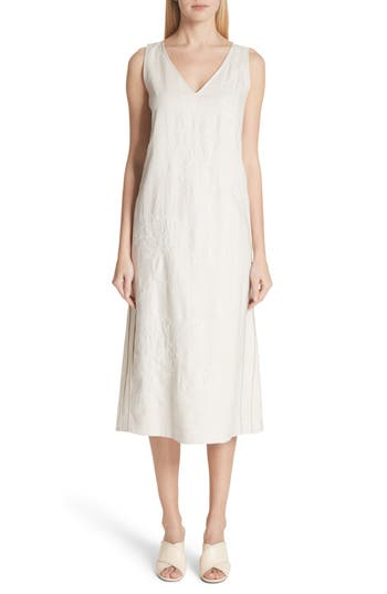 Lafayette 148 DUNCAN EMBROIDERED LINEN DRESS