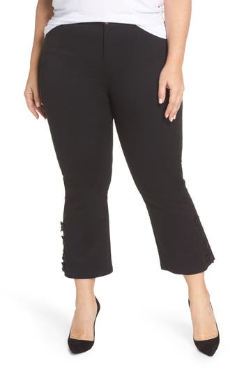 Plus Size Elvi Nyle Button Kick Flare Crop Pants