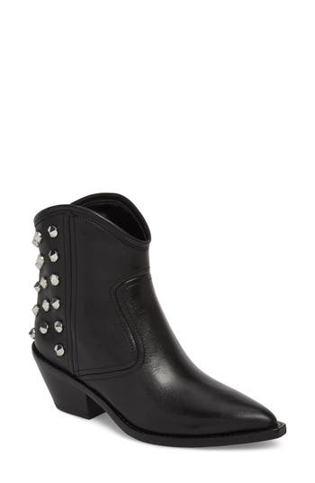Marc Fisher Baily Studded Western Bootie, Black