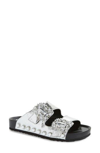 Jessica Simpson Gemelia Embellished Slide Sandal, Metallic
