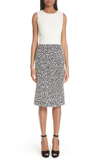 Oscar De La Renta Two-Tone Tweed Sheath Dress