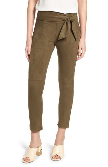 David Lerner Waist Tie Skimmer Leggings, Green