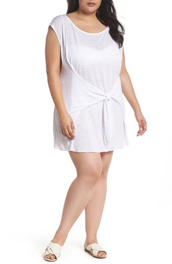 Plus Size Becca Etc. Breezy Basic Cover-Up Dress, White