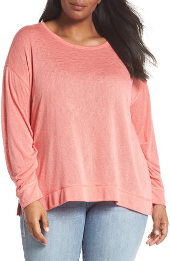 Plus Size Caslon Tuck Sleeve Sweatshirt, Coral