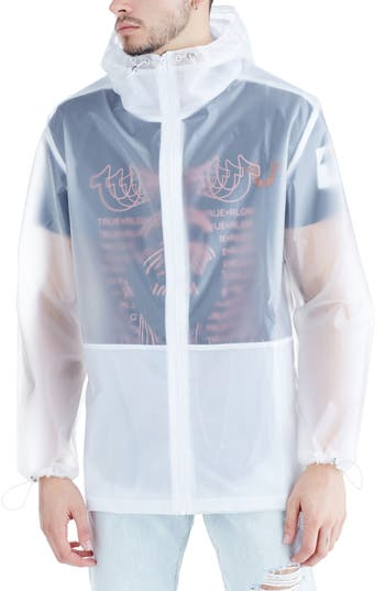 True Religion Brand Jeans Translucent Rain Jacket, White