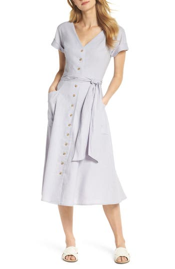 1930s Style Dresses | 30s Art Deco Dress Womens Gal Meets Glam Collection Vanessa Button Front Linen Blend Dress Size 10 - Purple $138.00 AT vintagedancer.com