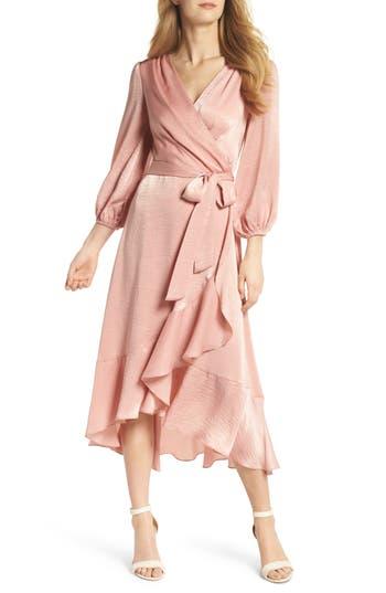 Vintage Cocktail Dresses, Party Dresses, Prom Dresses Womens Gal Meets Glam Collection Jennifer Shimmer Satin Wrap Dress Size 4 - Pink $158.00 AT vintagedancer.com