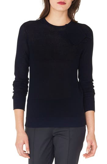 Akris Floral Embellished Netted Wool & Silk Sweater, Blue