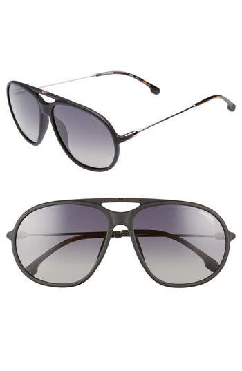 Carrera Eyewear 60Mm Polarized Aviator Sunglasses - Matte Black/ Grey