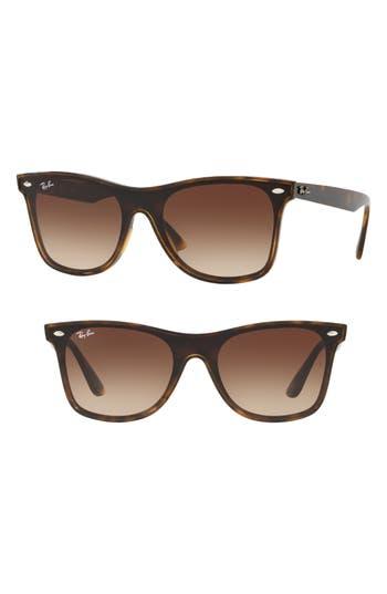 Ray-Ban Blaze 141Mm Wayfarer Shield Sunglasses - Light Havana Gradient
