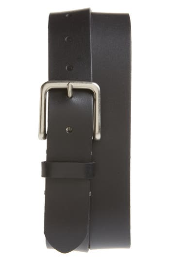 Big & Tall 1901 Moro Bar Tack Leather Belt, Black