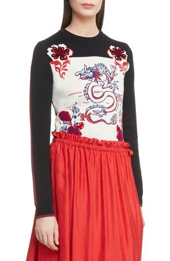 Kenzo Dragon Wool Blend Jacquard Sweater, Black