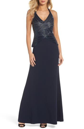 Adrianna Papell Beaded Halter Gown, Blue