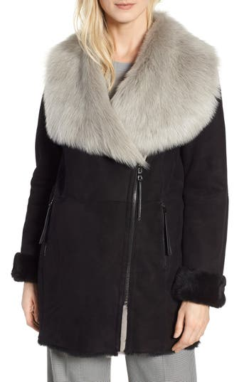 Hiso Toni Genuine Toscana Shearling Coat, Black