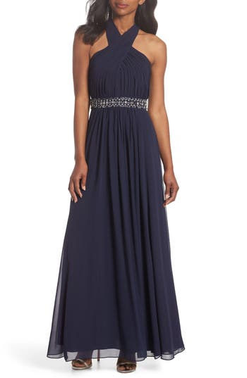 Eliza J Halter Pleated Cross Neck Gown, Blue