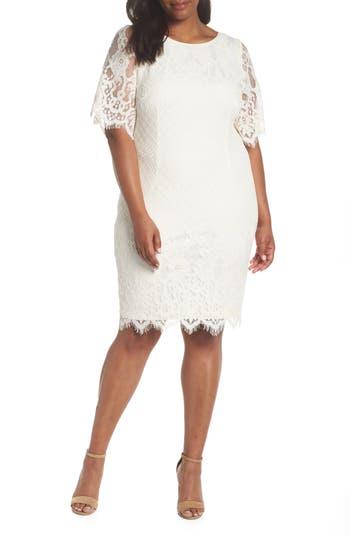 Plus Size Adrianna Papell Georgia Scalloped Lace Sheath Dress