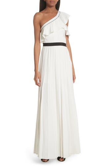 Self-Portrait Ruffle Trim One Shoulder Gown
